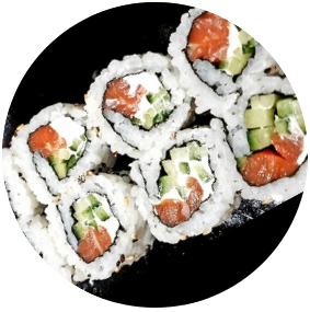 Salmon Cheese With Cucumber Uramaki